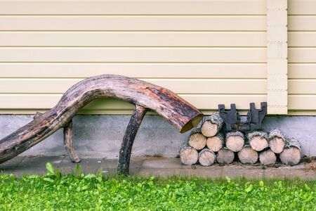 Old dry wood and aspen logs laid near the house.
