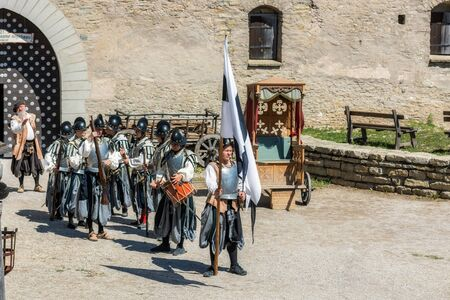 Rakvere, Estonia, June 28: A squad of cuirassiers is preparing to speak in the courtyard of an old castle in the city of Rakvere, June 28, 2019.