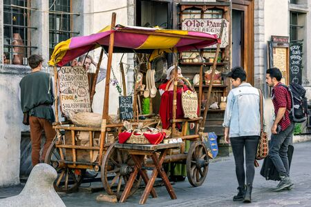 Tallinn, Estonia, June 28: The brisk trade in spices from a cart on Old Tallinn Street, June 28, 2019.