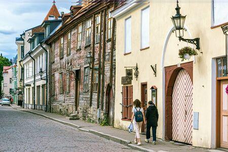Tallinn, Estonia, June 29: Tourists walk along Old Tallinn street and get acquainted with the sights, June 28, 2019. 에디토리얼