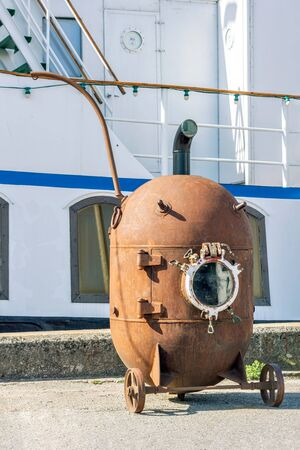 Old rusty bathyscaphe, for work under water is on the waterfront in the area of the port of Tallinn. 스톡 콘텐츠