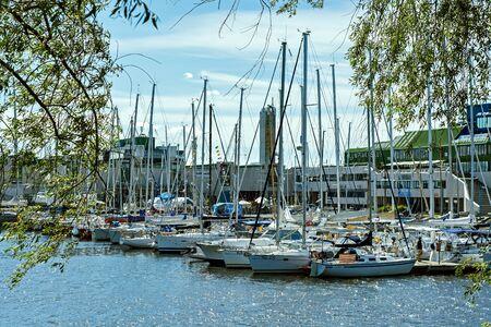 Tallinn, Estonia, June 29: Many yachts standing on a pier in the port of Tallinn, June 29, 2019.