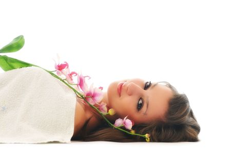 beauty halth and spa wellness isolated young woman face portrait closeup with towel and flower treatment Stock Photo - 5232544