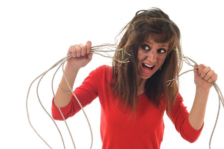 electric wire: young woman with dark face electrical explosion shock concept connect Stock Photo