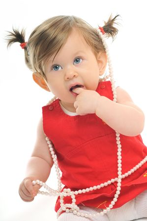 one happy  baby child isolated on white background photo