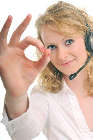 young beautiful business woman with headset phone help customer solution info service Stock Photo - 5279953