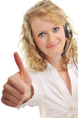 contact center: young beautiful business woman with headset phone help customer solution info service
