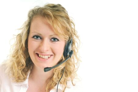 young beautiful business woman with headset phone help customer solution info service photo