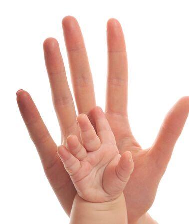 adultbaby: Frau und Baby Hand zusammen isoliert auf wei�, die Liebe und Familie Konzept