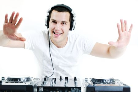 rave: young dj man with headphones and compact disc dj equipment Stock Photo