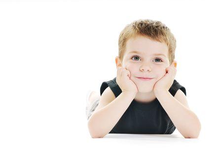 happy kid play on floor isolated on white photo