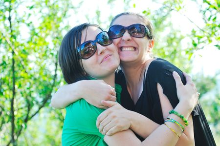 woman pragnant outdoor with friend smile and joy Stock Photo - 5293394