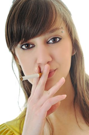 woman isolated on white stop smoking cigarette photo