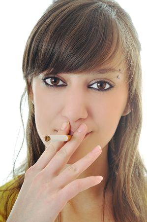 anti smoking: woman isolated on white stop smoking cigarette Stock Photo