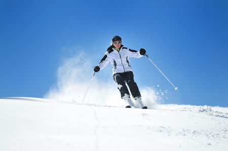 winter woman  ski  sport  fun  travel  snow  Stock Photo - 5292425