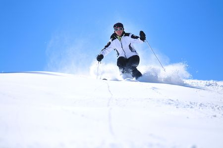 winter woman  ski  sport  fun  travel  snow  Stock Photo - 5265416