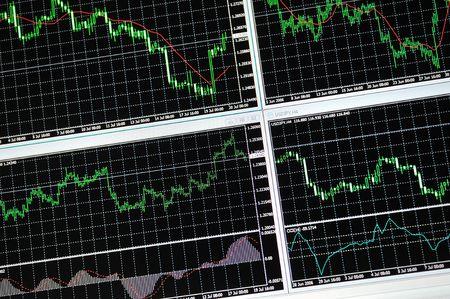trading: stock market graph on big lcd display closeup macro Stock Photo