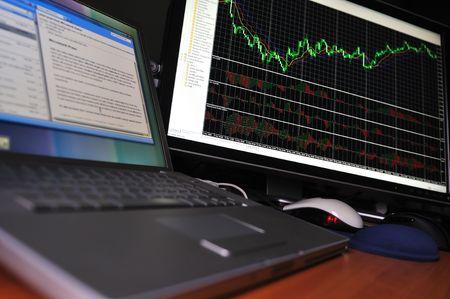 stock market graph on big lcd display closeup macro photo