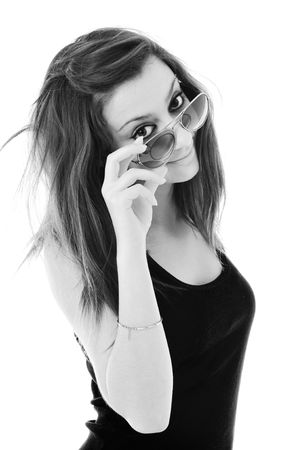 young woman finger hand SUNGLASSES photo