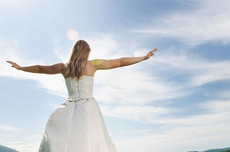happy young beautiful bride after wedding ceremony event have fun Stock Photo - 5272588