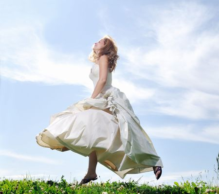 happy young beautiful bride after wedding ceremony event have fun Stock Photo - 5272577