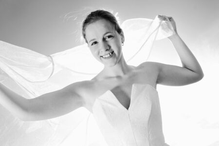 happy young beautiful bride after wedding ceremony event have fun Stock Photo - 5272813