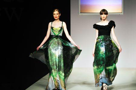 fashion show woman at piste walkinx in luxury dress