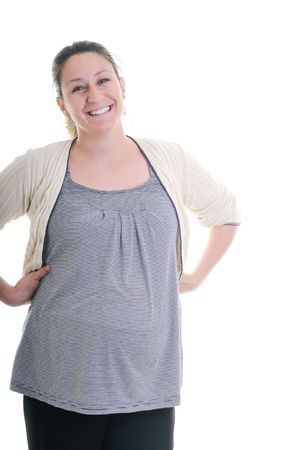 one happy pregnant woman smile isolated on white in studio Stock Photo - 5273053