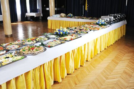 breakfast hotel: buffet catering food arangement on table Stock Photo
