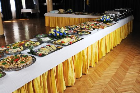 food buffet: buffet catering food arangement on table Stock Photo