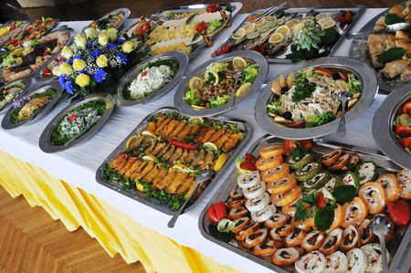 cater: buffet catering food arangement on table Stock Photo