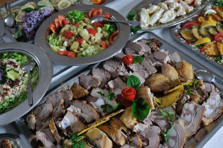catering food: buffet catering food arangement on table Stock Photo