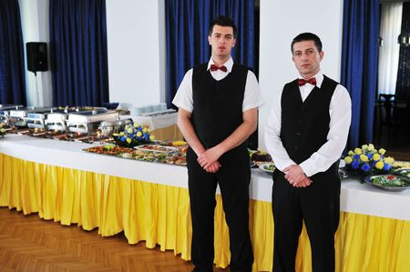 catering buffet food party preparation man Stock Photo - 5285254