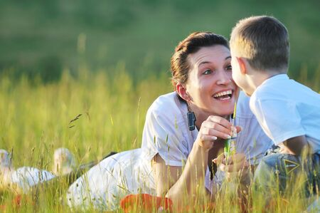 happy young woman mother play and outdoor with beautiful child Stock Photo - 5331091