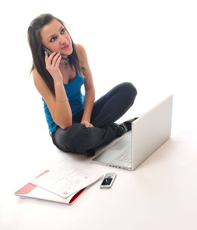 one young teen woman girl work on laptop isolated photo