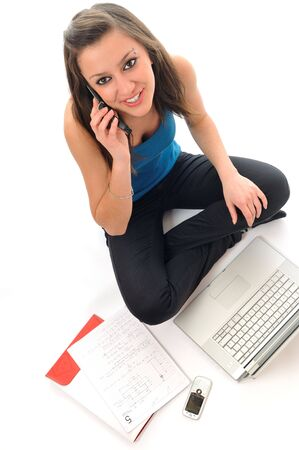 one young teen woman girl work on laptop isolated Stock Photo - 5315683