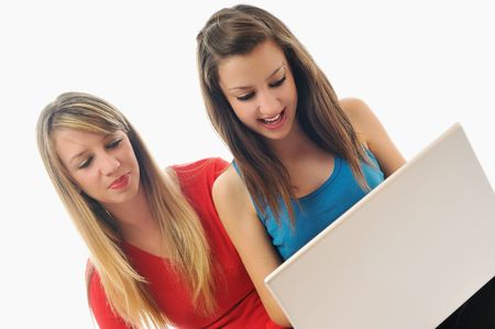 two young woman student work on laptop isolated photo