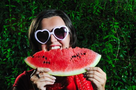 funny fashion happy woman with heart shape heart and watermelon Stock Photo - 5331104