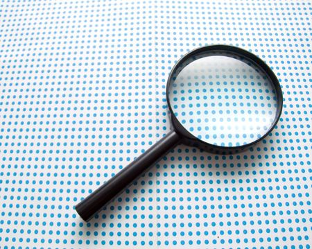 seeking an answer: magnifying glass Stock Photo