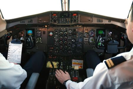 piloting: airplane cockpit