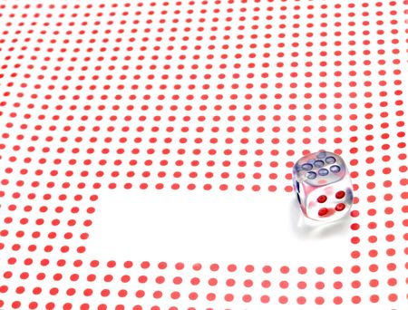 empty space for write and gambling dice on red dotted background Stock Photo - 5281317
