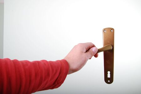 hand opening door isolated photo