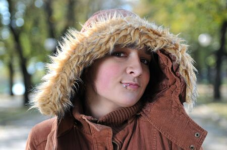 eyecontact: Young beautiful wonam smiling in nature