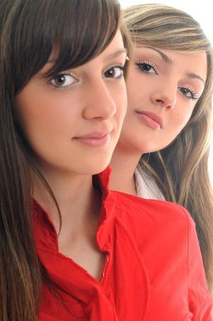 two young girl lesbian friend isolated happy on white background  photo