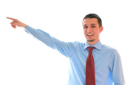 young business main with red tie pointing direction with finger and smile photo