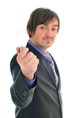 one business man isolated on white hold bul with idea and inovation concept photo