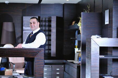 reception service man hotel indoor smile travel Stock Photo - 5394845