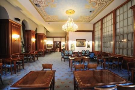 coffee restaurant indoor with luxury wooden furniture photo
