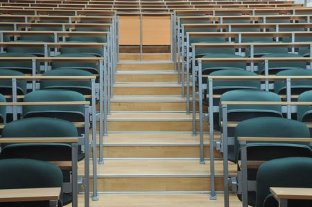 university classroom chairs in row photo