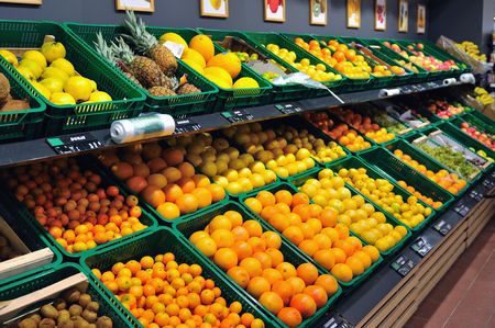 vegetables supermarket: fresh fruits ready to buy in supermarket
